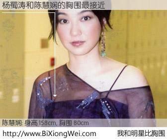 #我和明星比胸围# 身高 157cm,胸围 80cm,不言而喻,杨蜀涛与香港歌星陈慧娴的胸围最接近!有图有真相: