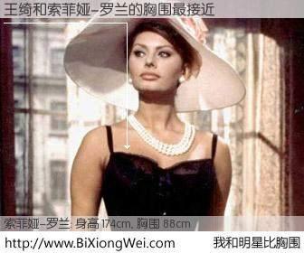 #我和明星比胸围# 身高 174cm,胸围 88cm,理所当然,王绮与意大利影星索菲娅-罗兰的胸围最接近!有图有真相:
