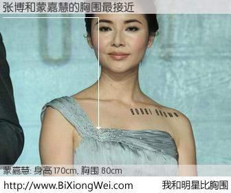 #我和明星比胸围# 身高 170cm,胸围 80cm,我们都看见了!张博与香港明星蒙嘉慧的胸围最接近!有图有真相: