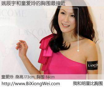 #我和明星比胸围# 身高 173cm,胸围 84cm,你自己都没想到吧?姚辰宇与香港明星童爱玲的胸围最接近!有图有真相: