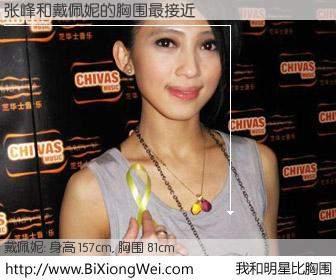 #我和明星比胸围# 身高 156cm,胸围 81cm,有目共睹,张峰与马来西亚歌星戴佩妮的胸围最接近!有图有真相:
