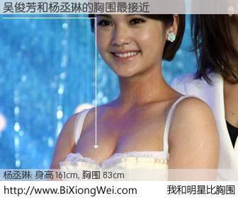 #我和明星比胸围# 身高 161cm,胸围 83cm,哇,我的神啊!吴俊芳与台湾影星杨丞琳的胸围最接近!有图有真相: