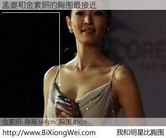 #我和明星比胸围# 身高 169cm,胸围 81cm,噢,卖糕的!孟婆与韩国演员金素妍的胸围最接近!有图有真相: