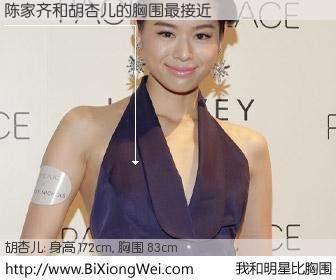 #我和明星比胸围# 身高 172cm,胸围 83cm,理所当然,陈家齐与香港女星胡杏儿的胸围最接近!有图有真相:
