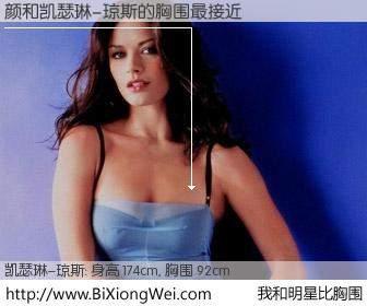 #我和明星比胸围# 身高 174cm,胸围 92cm,不用多说,颜与英国影星凯瑟琳-琼斯的胸围最接近!有图有真相: