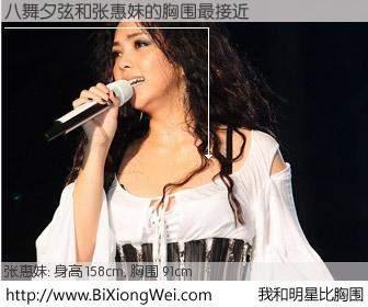 #我和明星比胸围# 身高 158cm,胸围 90cm,地球人都知道,八舞夕弦与日本歌星张惠妹的胸围最接近!有图有真相: