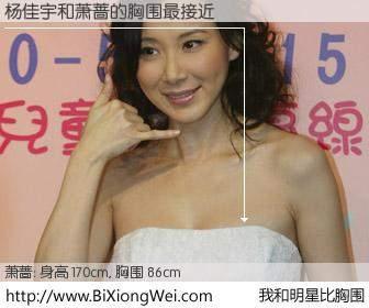 #我和明星比胸围# 身高 170cm,胸围 86cm,显而易见,杨佳宇与台湾明星萧蔷的胸围最接近!有图有真相: