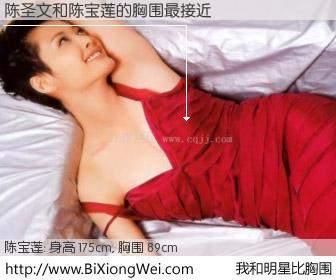 #我和明星比胸围# 身高 175cm,胸围 89cm,我们都看见了!陈圣文与香港明星陈宝莲的胸围最接近!有图有真相: