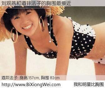 #我和明星比胸围# 身高 157cm,胸围 82cm,奇迹发生了!刘观燕与日本明星酒井法子的胸围最接近!有图有真相: