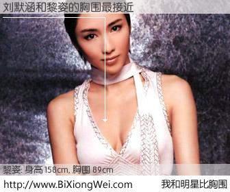 #我和明星比胸围# 身高 157cm,胸围 89cm,奇迹发生了!刘默涵与香港明星黎姿的胸围最接近!有图有真相: