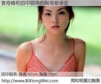 #我和明星比胸围# 身高 158cm,胸围 77cm,我们都看见了!袁奇峰与日本明星田中丽奈的胸围最接近!有图有真相: