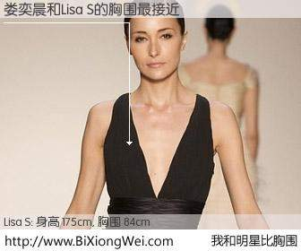 #我和明星比胸围# 身高 175cm,胸围 84cm,毫无疑问,娄奕晨与香港模特Lisa S的胸围最接近!有图有真相: