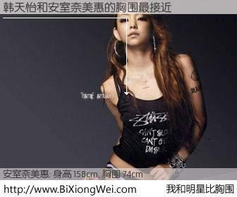 #我和明星比胸围# 身高 156cm,胸围 74cm,有目共睹,韩天怡与日本歌星安室奈美惠的胸围最接近!有图有真相: