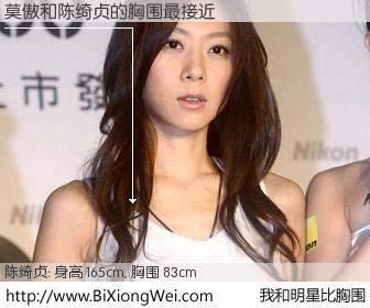 #我和明星比胸围# 身高 165cm,胸围 83cm,毫无疑问,莫傲与台湾歌星陈绮贞的胸围最接近!有图有真相: