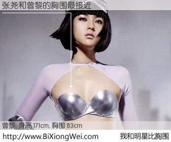 #我和明星比胸围# 身高 171cm,胸围 83cm,显而易见,张尧与内地影星曾黎的胸围最接近!有图有真相: