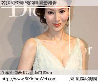 #我和明星比胸围# 身高 172cm,胸围 85cm,不可思议啊!齐珞与香港明星李嘉欣的胸围最接近!有图有真相:
