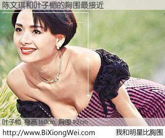#我和明星比胸围# 身高 160cm,胸围 94cm,奇迹发生了!陈文琪与香港明星叶子楣的胸围最接近!有图有真相: