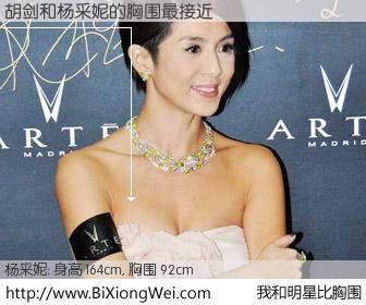 #我和明星比胸围# 身高 166cm,胸围 92cm,噢,卖糕的!胡剑与香港演员杨采妮的胸围最接近!有图有真相: