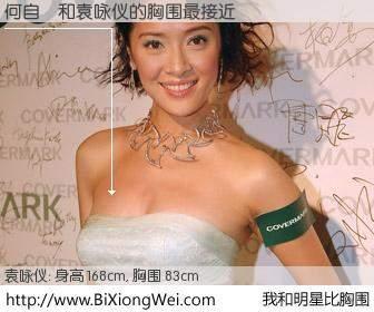 #我和明星比胸围# 身高 168cm,胸围 83cm,奇迹发生了!何自銘与香港女星袁咏仪的胸围最接近!有图有真相: