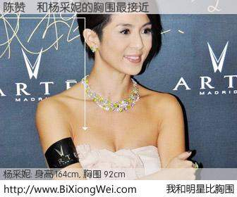 #我和明星比胸围# 身高 164cm,胸围 92cm,你自己都没想到吧?陈赞彧与香港演员杨采妮的胸围最接近!有图有真相:
