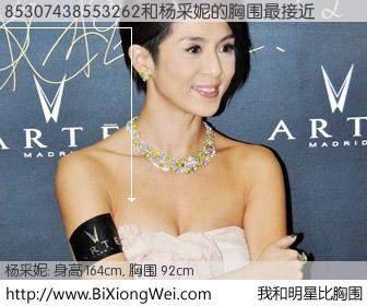#我和明星比胸围# 身高 165cm,胸围 92cm,不可思议啊!85307438553262与香港演员杨采妮的胸围最接近!有图有真相: