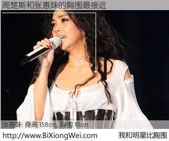#我和明星比胸围# 身高 158cm,胸围 90cm,噢,卖糕的!周楚斯与日本歌星张惠妹的胸围最接近!有图有真相: