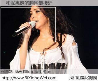 #我和明星比胸围# 身高 158cm,胸围 90cm,不言而喻,詞与日本歌星张惠妹的胸围最接近!有图有真相: