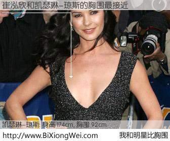 #我和明星比胸围# 身高 174cm,胸围 93cm,理所当然,崔泓欣与英国影星凯瑟琳-琼斯的胸围最接近!有图有真相: