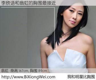#我和明星比胸围# 身高 165cm,胸围 89cm,显而易见,李欣语与香港女星翁虹的胸围最接近!有图有真相: