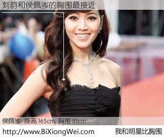 #我和明星比胸围# 身高 165cm,胸围 81cm,我们都看见了!刘韵与台湾主播侯佩岑的胸围最接近!有图有真相: