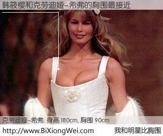 #我和明星比胸围# 身高 180cm,胸围 90cm,有目共睹,韩筱樱与德国名模克劳迪娅-希弗的胸围最接近!有图有真相: