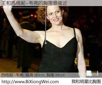 #我和明星比胸围# 身高 180cm,胸围 88cm,毫无疑问,王与美国女星西格妮-韦弗的胸围最接近!有图有真相: