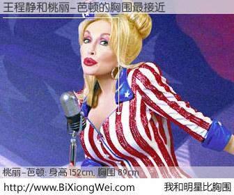 #我和明星比胸围# 身高 152cm,胸围 90cm,毫无疑问,王程静与美国歌星桃丽-芭顿的胸围最接近!有图有真相: