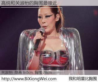 #我和明星比胸围# 身高 159cm,胸围 78cm,你自己都没想到吧?高纯与香港歌星关淑怡的胸围最接近!有图有真相: