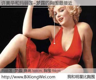 #我和明星比胸围# 身高 165cm,胸围 94cm,有目共睹,许美华与美国明星玛丽莲-梦露的胸围最接近!有图有真相: