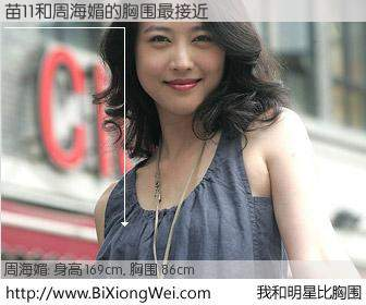 #我和明星比胸围# 身高 169cm,胸围 86cm,哇,我的神啊!苗11与香港影星周海媚的胸围最接近!有图有真相: