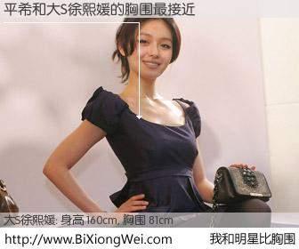 #我和明星比胸围# 身高 160cm,胸围 81cm,不用多说,平希与台湾明星大S徐熙媛的胸围最接近!有图有真相: