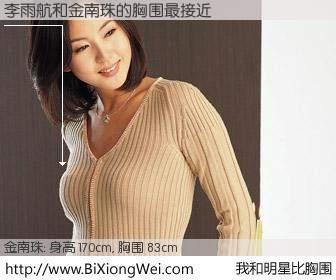 #我和明星比胸围# 身高 170cm,胸围 83cm,显而易见,李雨航与韩国明星金南珠的胸围最接近!有图有真相: