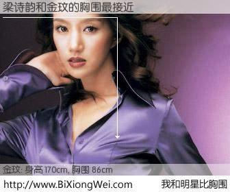 #我和明星比胸围# 身高 170cm,胸围 86cm,哇,我的神啊!梁诗韵与韩国演员金玟的胸围最接近!有图有真相: